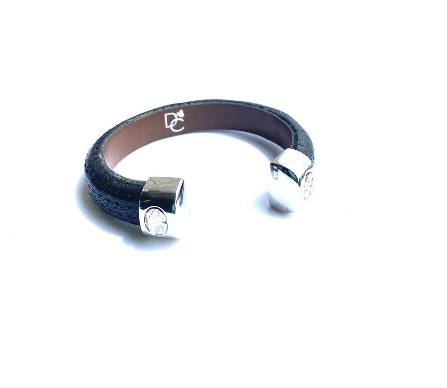 Single Cuff Bracelet with Stones-Black w/Silver end cap