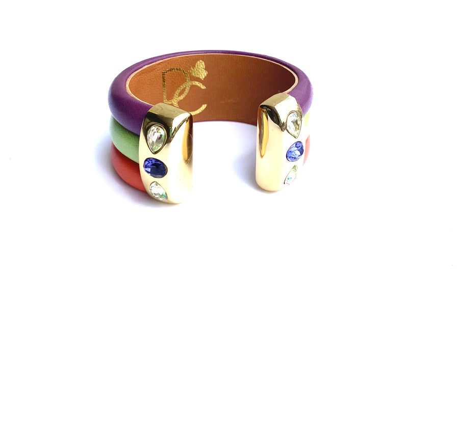 Triple Cuff Bracelet with Stones- Color