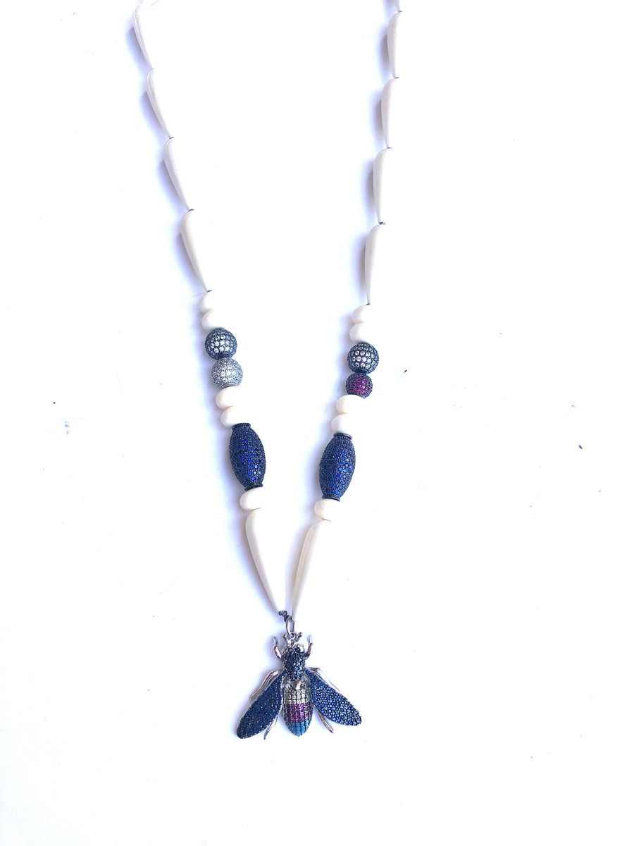 Navy Bee Necklace