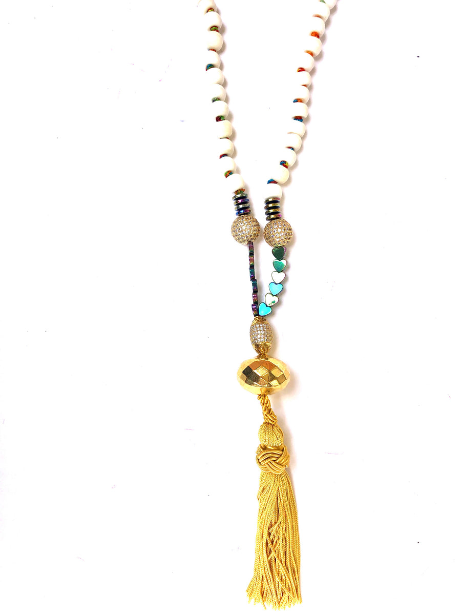 Bone Necklace with Gold Tassel