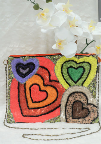 BEADED HEART PURSE