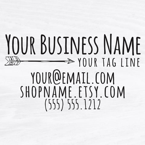 Rustic Arrow Business Card Stamp