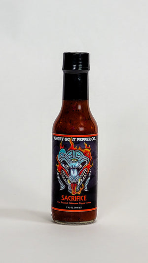 angry goat pepper company sacrifice hot sauce label