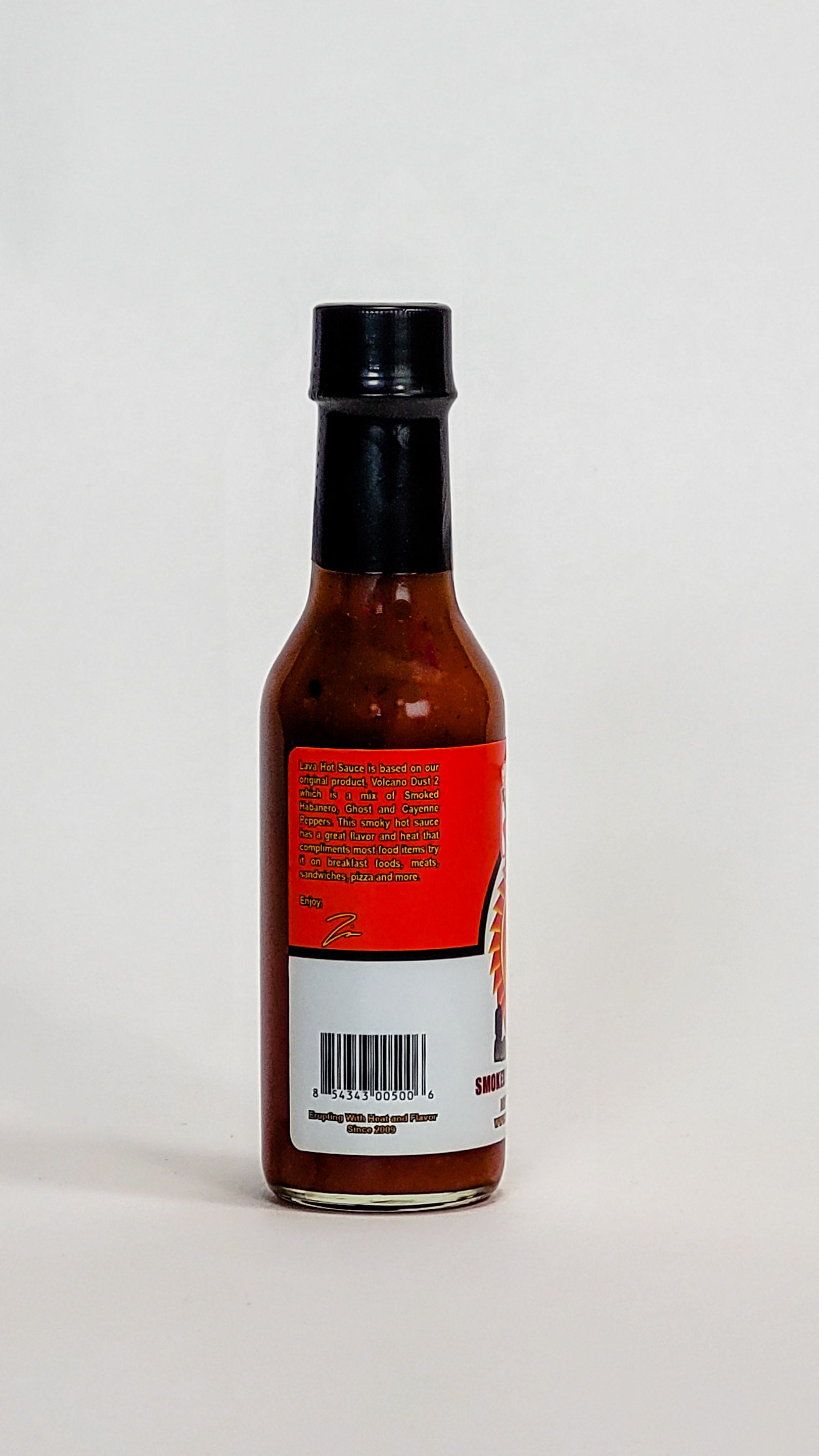 volcanic peppers lava smoked habanero hot sauce label
