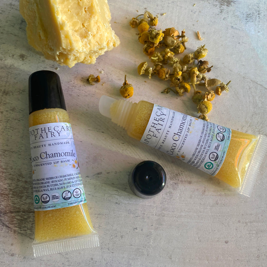 Coco Chamomile Herb-Infused Lip Salve (vegan) .6oz - The Apothecary Fairy