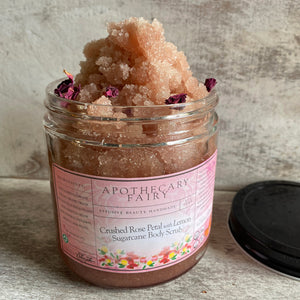 Crushed Rose Petal with Lemon Sugarcane Body Scrub - The Apothecary Fairy