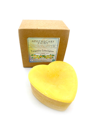 Tangerine Lemongrass Conditioner Bar 3oz heart - The Apothecary Fairy