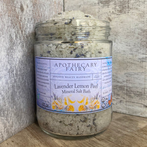 Lavender Lemon Peel Mineral Salt Bath - The Apothecary Fairy