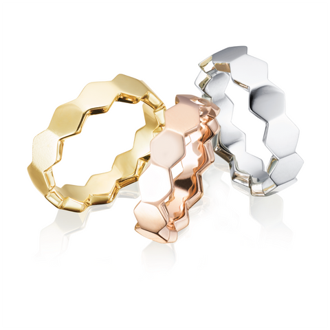 Gold Hex Wedding Bands