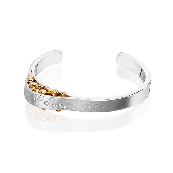 Sterling Silver and 7 Diamond & 18ct Yellow Gold Cuff Bangle