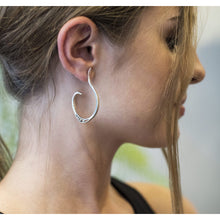 Load image into Gallery viewer, Sterling Silver Oxidised Wahoop earrings (medium)