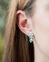 Load image into Gallery viewer, Medium Sterling Silver Fern Stud Earrings
