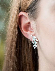 Medium Sterling Silver Fern Stud Earrings