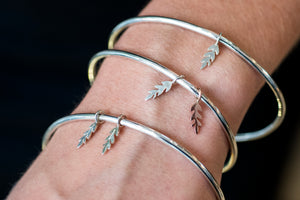 Polished Charm Bangle with Double Sterling Silver Fern Florets