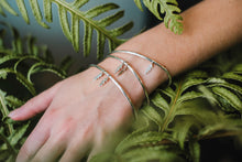 Load image into Gallery viewer, Polished Charm Bangle with Double Fern Florets (1 Sterling Silver & 1 9ct Rose Gold)