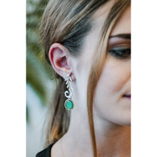 Load image into Gallery viewer, Emerald Unfurled Fern Earrings