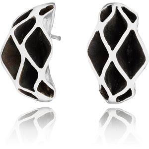 Casbah Oriel stud earrings, Sterling Silver Oxidised