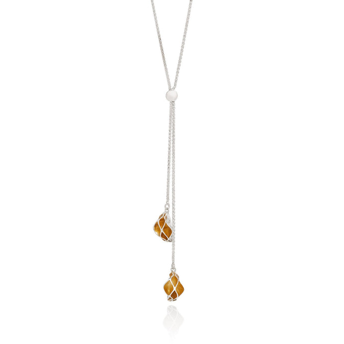 Casbah adjustable lariat necklace, Sterling Silver and 18ct Yellow Gold Vermeil