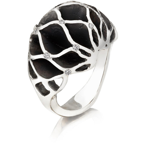Casbah Sixteen Diamond dome ring, Oxidised Sterling Silver