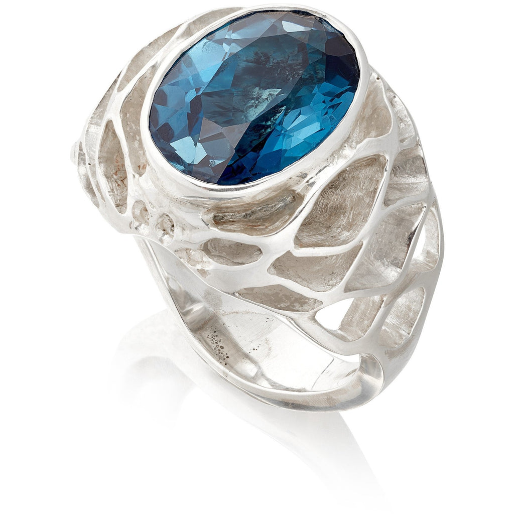 Royal Casbah dome ring with 14mm x 10mm 7cts London Blue Topaz - Sterling Silver