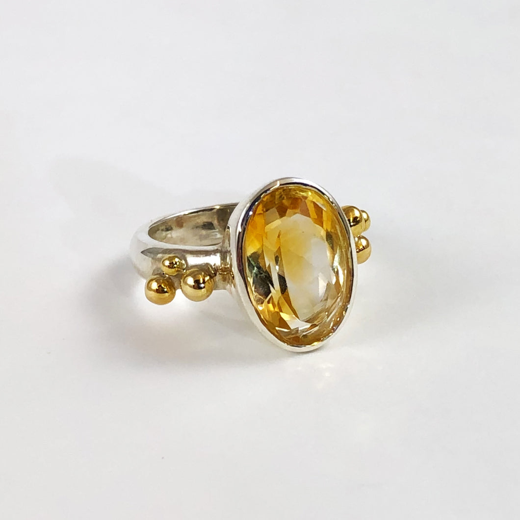 Silver & 18ct Gold Citrine Ring
