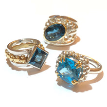 Load image into Gallery viewer, Swiss Blue Topaz Sterling Silver Ring with Bubble surround Yellow Gold Double Bird Claws