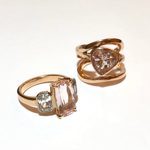 Morganite & White Sapphire Ring in 18ct Rose Gold