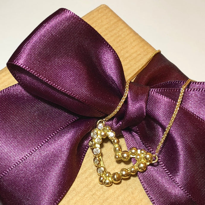 Gold Bubble Heart Necklace with 8 Diamonds