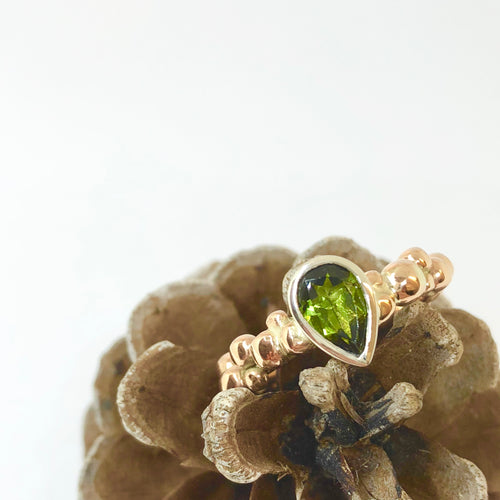 9ct White & Rose Gold Pebble Ring with a Green Teardrop Tourmaline
