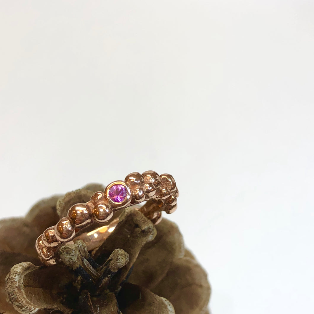 Rose Gold & Pink Sapphire Pebble Ring