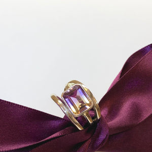 Silver Triple Band Emerald-Cut Ametrine Ring