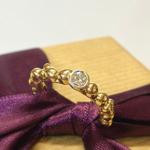 9ct Gold Diamond Pebble Ring