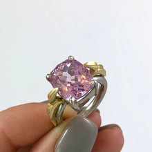 Load image into Gallery viewer, 'Lylla' Platinum Cushion Cut Kunzite Ring
