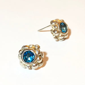 London Blue Topaz Bubble Stud Earrings