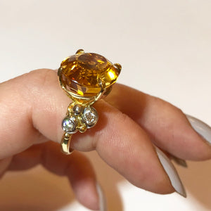 Platinum & Yellow Gold Oval Golden Citrine Asymmetric Ring