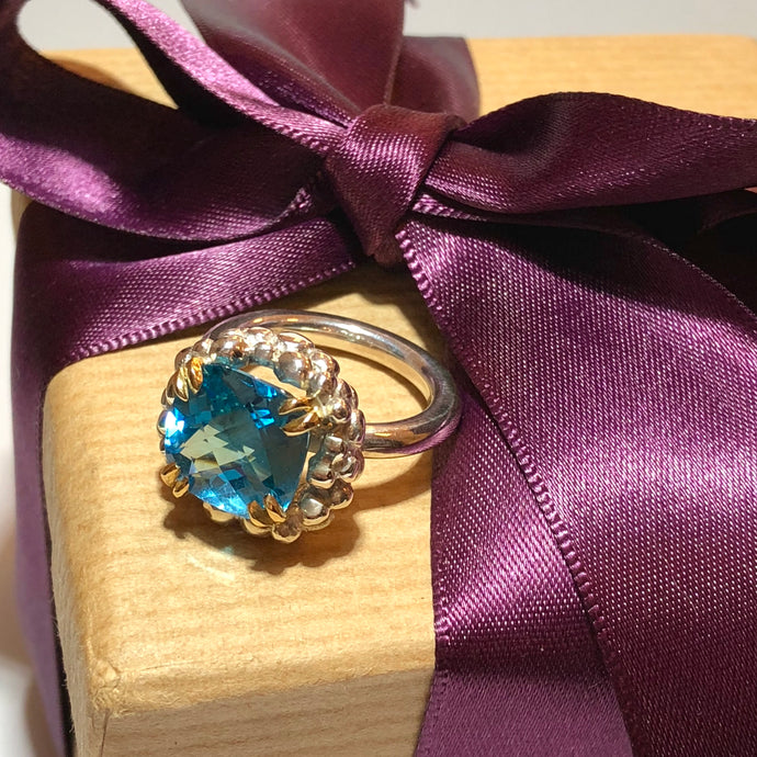 Swiss Blue Topaz Sterling Silver Ring with Bubble surround Yellow Gold Double Bird Claws