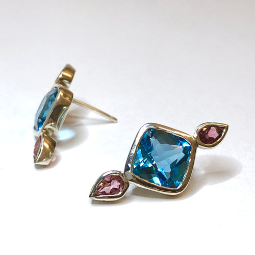Sterling Silver Swiss Blue Topaz and Pink Tourmaline Earrings