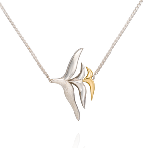 'Lylla' Silver and 18ct Yellow Gold Sideways Necklace