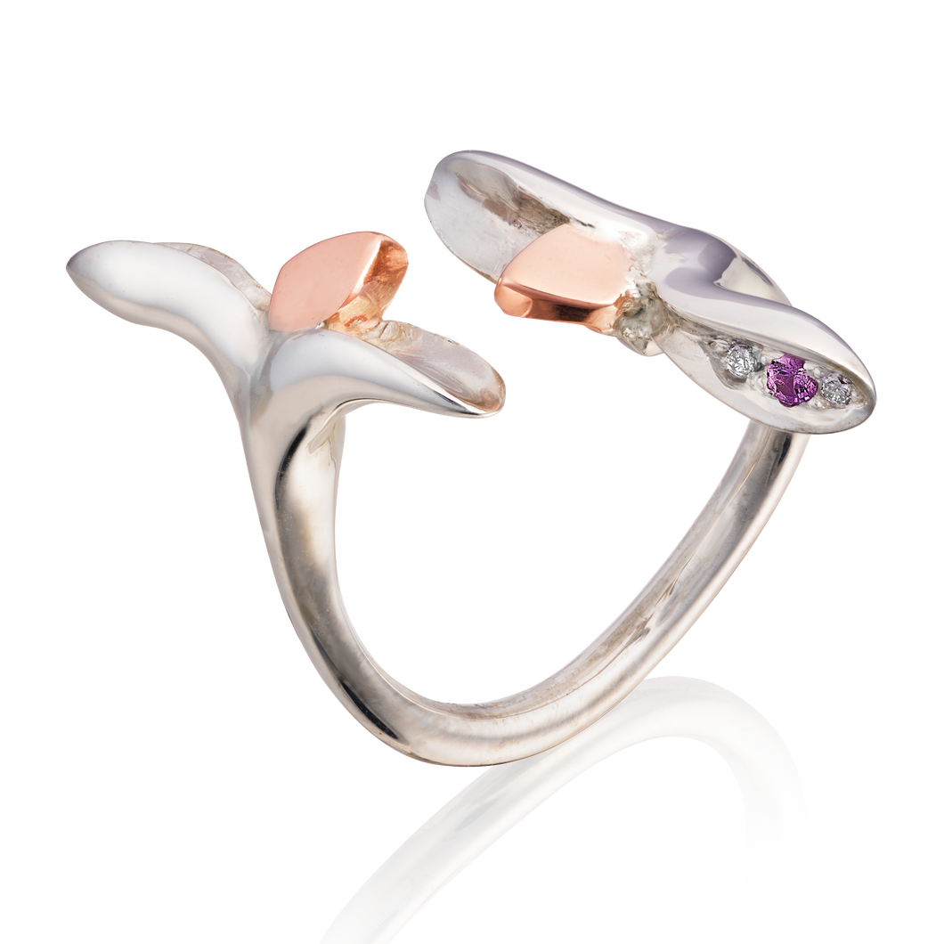 'Lylla' Torque Ring with Diamonds and a Pink Sapphire