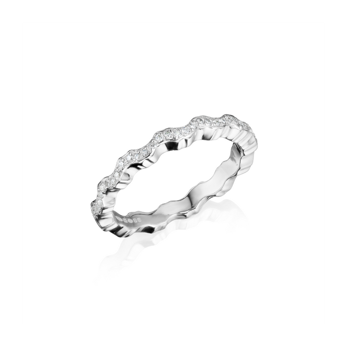 Affinity Diamond Stacking Liquid Wave Ring