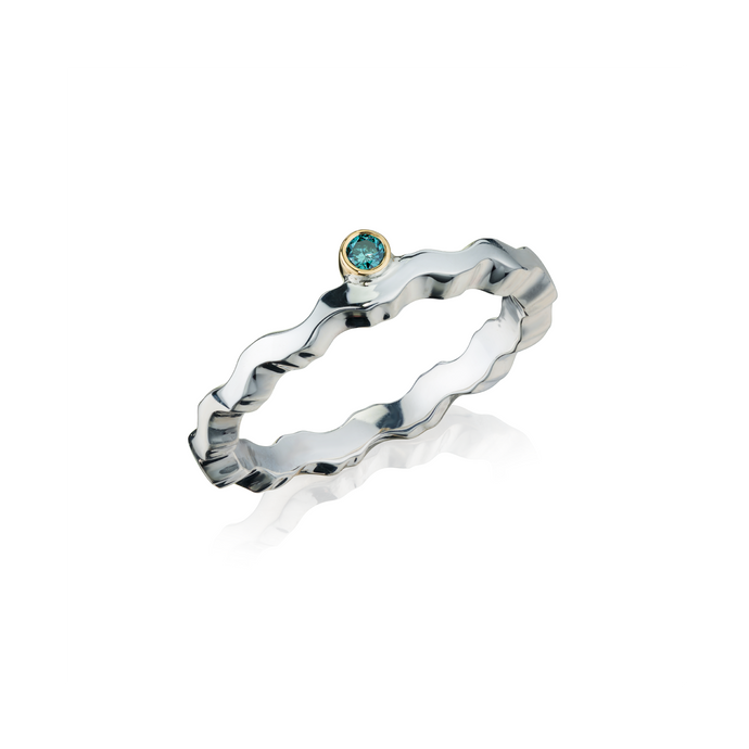 Affinity Blue Diamond Stacking Liquid Wave Ring
