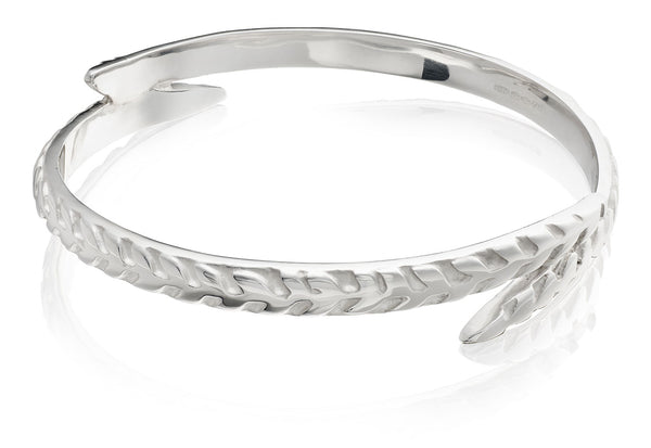 Overlapping Sterling Silver Fern Bangle