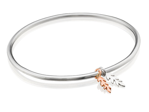 Polished Charm Bangle with Double Fern Florets (1 Sterling Silver & 1 9ct Rose Gold)