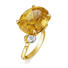 Load image into Gallery viewer, Platinum & Yellow Gold Oval Golden Citrine Asymmetric Ring