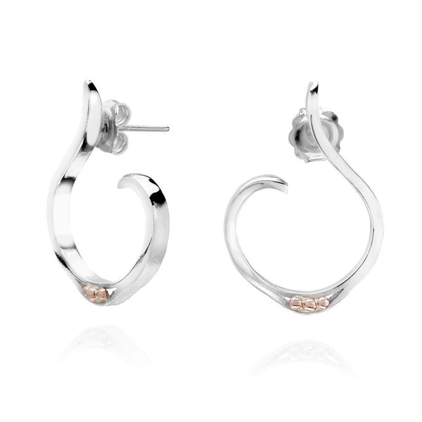 Sterling Silver & 9ct Rose Gold Wahoop Earrings