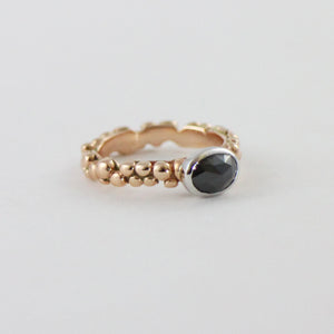 Rose Gold Black Diamond Mini Bubble Ring