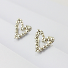 Load image into Gallery viewer, Silver Bubble Heart Stud Earrings