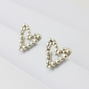Silver Bubble Heart Stud Earrings