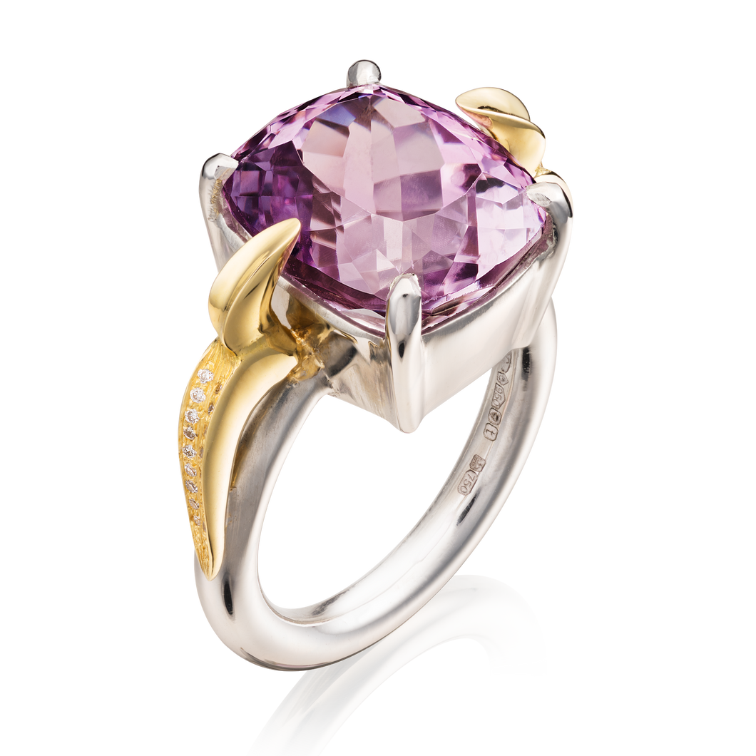 'Lylla' Platinum Cushion Cut Kunzite Ring
