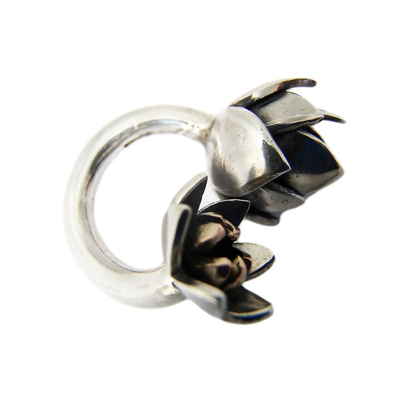 Sterling Silver and 9ct Rose Gold Artichoke wrap ring by Charlotte Cornelius